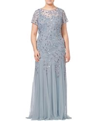 Adrianna Papell - Plus Size Floral Beaded Godet Dress - Lyst