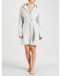 John Lewis - Stripe Jersey Hooded Robe - Lyst