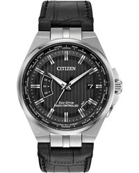 Citizen - Cb0160-00e Men's World Perpetual At Eco-drive Date Leather Strap Watch - Lyst