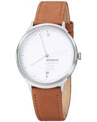 Mondaine - Mh1l2210lg Unisex Helvetica Leather Strap Watch - Lyst