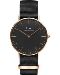2ba009167f6 Daniel Wellington - Dw00100150 Unisex Cornwall Fabric Strap Watch - Lyst