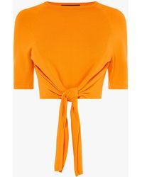 Karen Millen Tied-hem Knit T-shirt