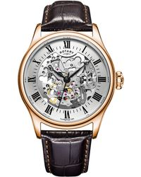 John Lewis - Rotary Gs02942/01 Men's Skeleton Leather Strap Watch - Lyst