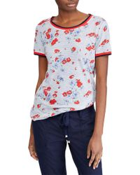 Lauren by Ralph Lauren - Short Sleeved Striped And Floral Print T-shirt - Lyst