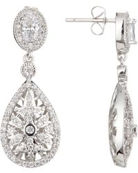 Ivory & Co. - Stellar Detailed Cubic Zirconia Pave Teardrop Drop Earrings - Lyst