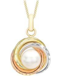 Ib&b - 9ct Gold Triple Colour Diamond Cut Knot And Pearl Pendant Necklace - Lyst