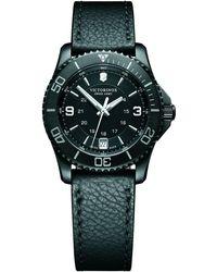 Victorinox   241788 Women's Maverick Date Leather Strap Watch   Lyst