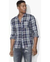 John Varvatos - Reversible Plaid Shirt - Lyst