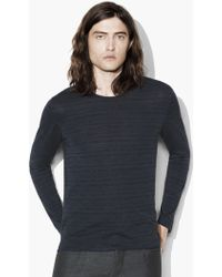 John Varvatos - Broken Stripe Crewneck Sweater - Lyst