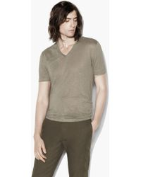 John Varvatos - V-neck Tee With Jersey Details - Lyst