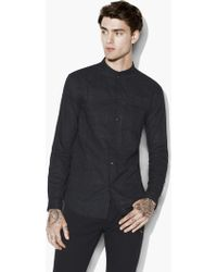 John Varvatos - Slim Fit Shirt With Double Layered Stand Collar - Lyst