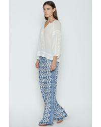 Joie - Woman Printed Silk-crepe Wide-leg Trousers Navy - Lyst
