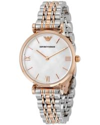 Emporio Armani Classic Mother Of Pearl Dial Ladies Watch - Metallic