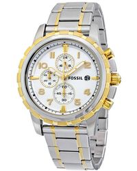 Fossil - Dean Chronograph Silver Dial Two-tone Mens Watch - Lyst