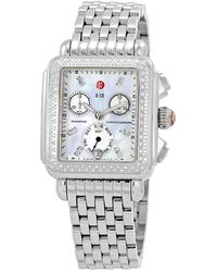 Michele - Deco Day Mother Of Pearl Dial Diamond Ladies Watch - Lyst