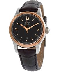 Oris - Classic Date Automatic Black Dial Black Leather Ladies Watch 01 561 7650 4334-07 5 14 11 - Lyst