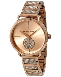Michael Kors Ladies' Portia Rose Gold-tone And Pavé Watch - Metallic