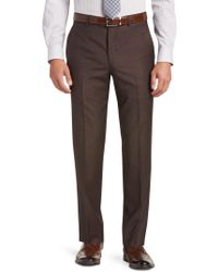 Jos. A. Bank - Traveler Collection Tailored Fit Flat Front Textured Weave Dress Pants - Lyst