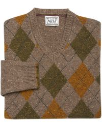 Jos. A. Bank 1905 Collection Traditional Fit Lambswool Argyle V-neck Men's Sweater - Big & Tall - Brown
