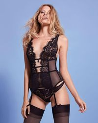 12dfe0ca3a2 Lyst - Agent Provocateur Caisey Embroidered Tulle Basque in Black