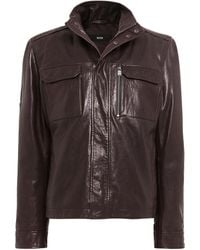 BOSS - Leather Gwendon Jacket - Lyst
