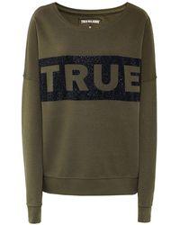 True Religion - Crew Neck Beaded Logo Sweatshirt - Lyst