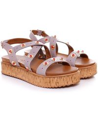 Inuovo - Studded Cork Wedge Sandals - Lyst