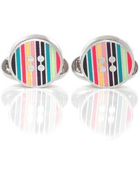 PS by Paul Smith - Striped Button Cufflinks - Lyst