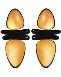Monies - Ebony Gold Leaf Clip On Earrings - Lyst
