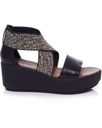 Inuovo - Studded Cross Over Wedge Sandals - Lyst