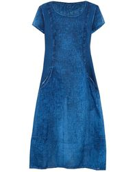 Grizas - Linen Ribbed Detail Pocket Dress - Lyst