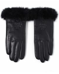Armani Jeans | Leather and Rabbit Fur Gloves | Lyst