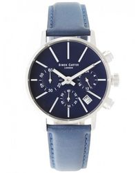 Simon Carter - Blue Face Chronograph Watch - Lyst