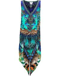 Camilla - Peacock Print Cross Over Back Top - Lyst