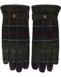 Barbour - Leather Tartan Newbrough Gloves - Lyst