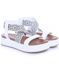 85be02ef7b7 Lyst - Inuovo Double Strap Wedge Sandals in Brown