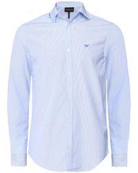 Armani - Poplin Cotton Striped Shirt - Lyst