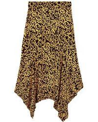 Ganni - Goldstone Floral Print Crepe Skirt - Lyst