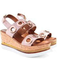 Inuovo - Eyelet Double Bar Sandals - Lyst
