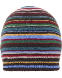 c6a7f78d13c57 Paul Smith Black Striped Cable Knit Wool Beanie Hat in Black for Men ...