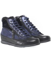 Candice Cooper - Beverly Faux Fur Trim High Top Trainers - Lyst