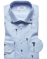 Eton of Sweden - Slim Fit Striped Flower Shirt - Lyst