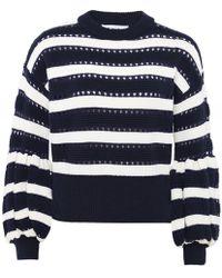 Self-Portrait - Balloon Sleeve Cropped Knit Sweater - Lyst