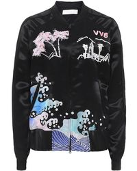 Victoria, Victoria Beckham - Embroidered Satin Bomber Jacket - Lyst