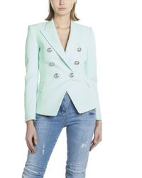 0bdff502 Balmain Double Breasted Wool Twill Jacket in Natural - Lyst