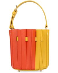 fe4d154877 Lyst - Fendi Ombre Brown   Yellow Leather Pleated
