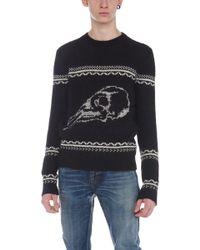Saint Laurent - Skull Knit Sweater - Lyst