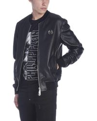 Philipp Plein - Leather Bomber Jacket - Lyst
