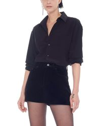 6f2023303f Lyst - Saint Laurent Flare Collar Shirt In Black Leather in Black