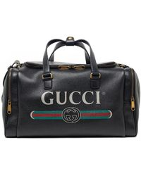 58ba4930d52 Lyst - Gucci Bright Diamante Leather Carry-on Duffle Bag in Black ...